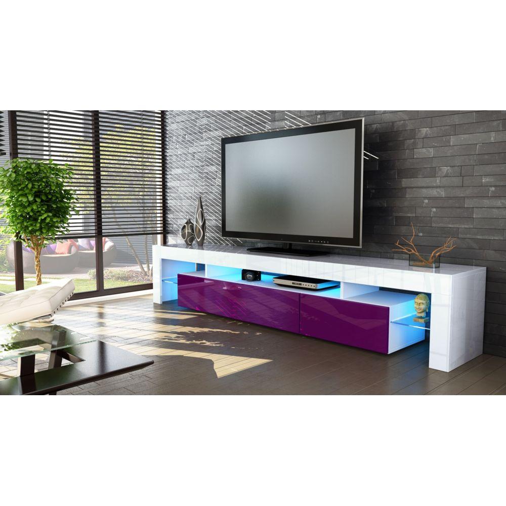 Mpc Meuble tv blanc et mûre 189 cm sans led