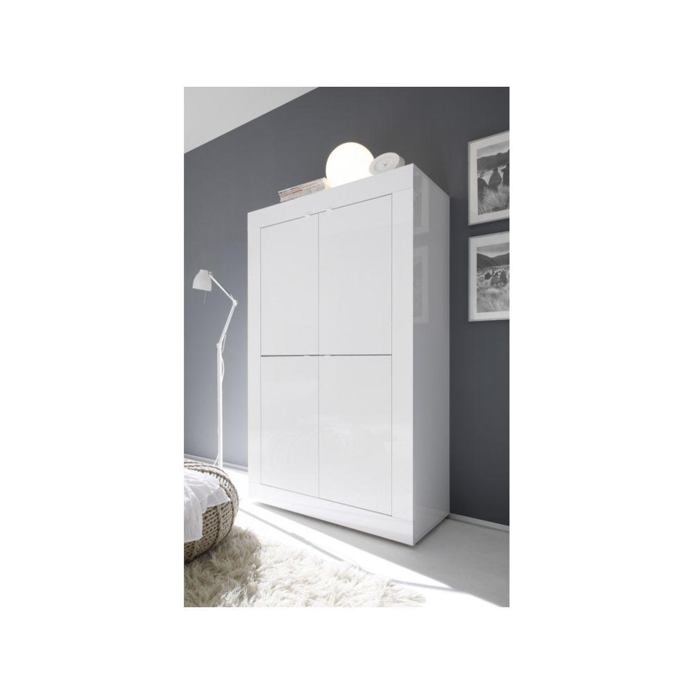 Subleem SUBLEEM Meuble 4 portes en bois Favara blanc laqué brillant
