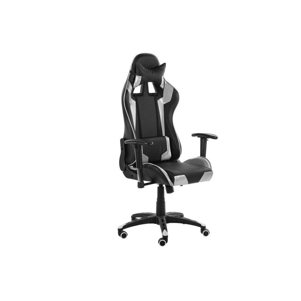 Beliani Beliani Chaise de bureau en simili-cuir noir et argenté KNIGHT - noir