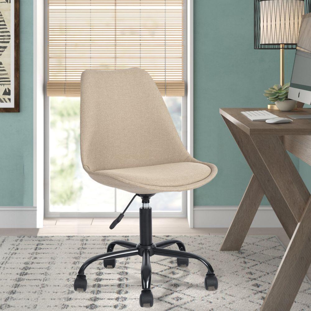 Easy Meuble Chaise de bureau scandinave rotatif réglable en tissu beige