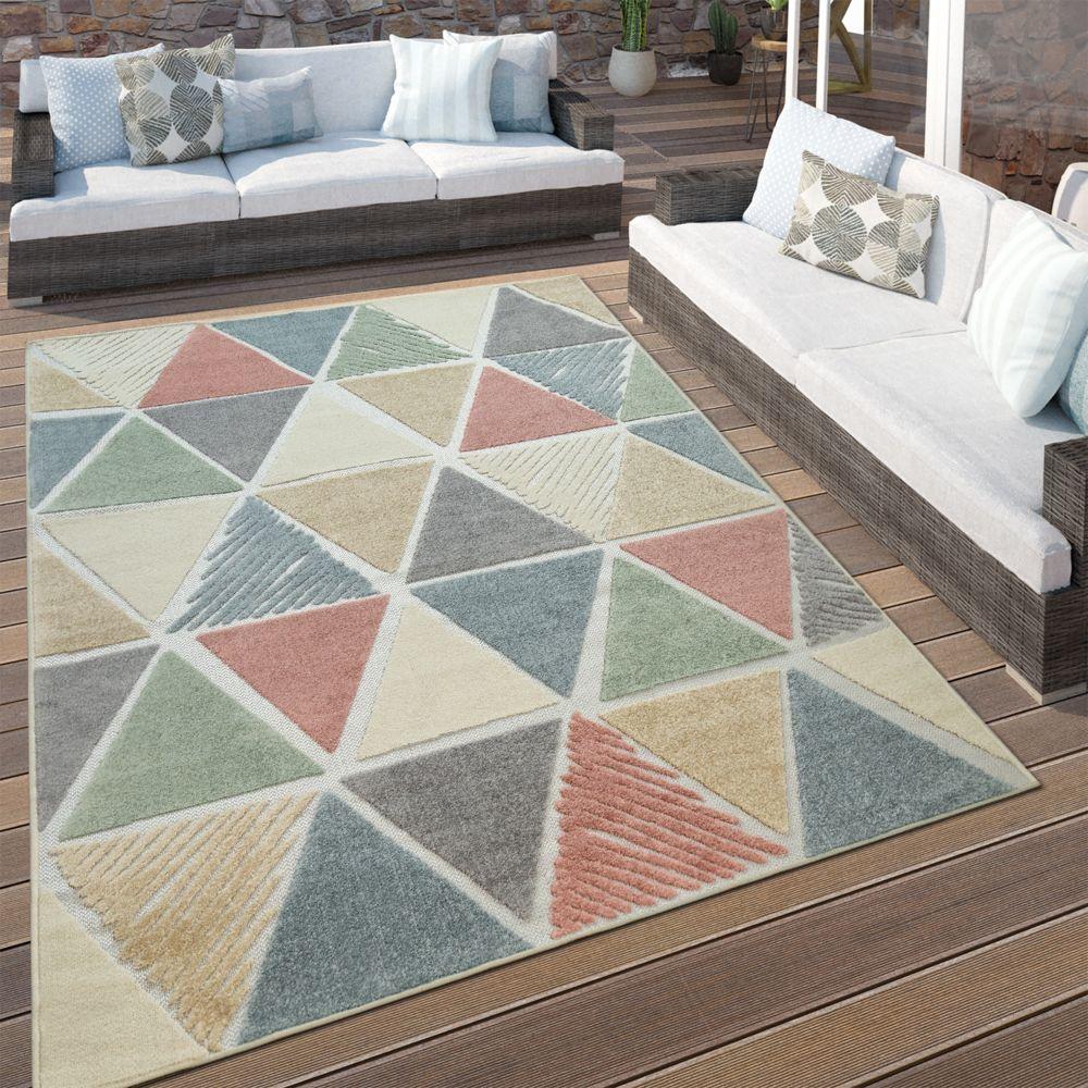 Paco-Home Tapis Terrasses Intérieur Extérieur Losanges Moderne Design Géométrique Coloré