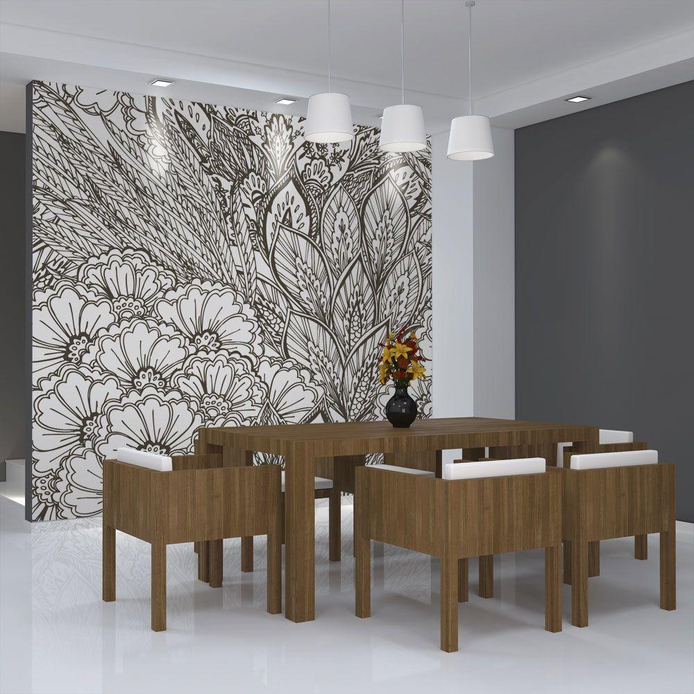 Bimago Papier peint - prairie (noir et blanc) - Décoration, image, art   Fonds et Dessins   Motifs floraux  