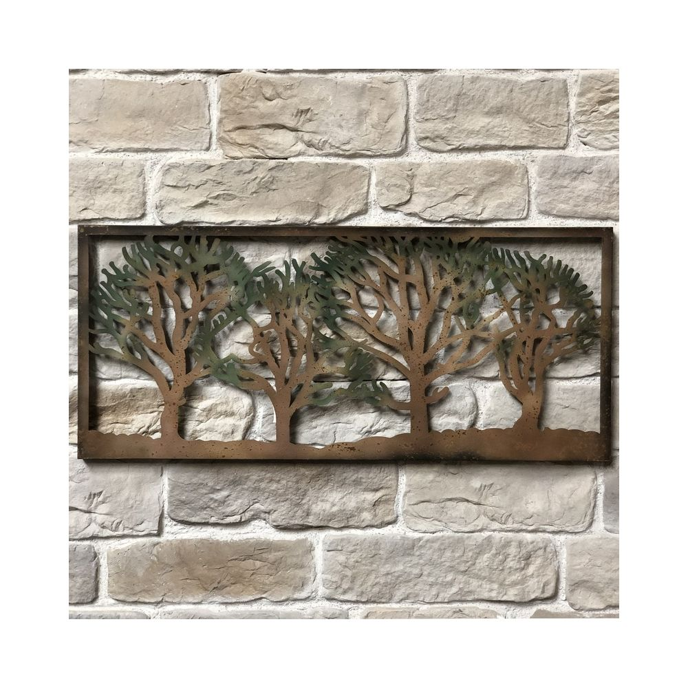 L'Originale Deco 125cm x 55cm Fronton Applique Mural Style Arbre de Vie Fer Métal Arbre Colorée