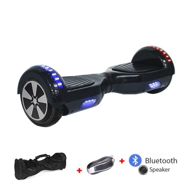 Mac Wheel - 6,5 pouces noir Hoverboard Gyropod Overboard Smart Scooter + Bluetooth + Sac + clé à distance - Gyropode, Hoverboard