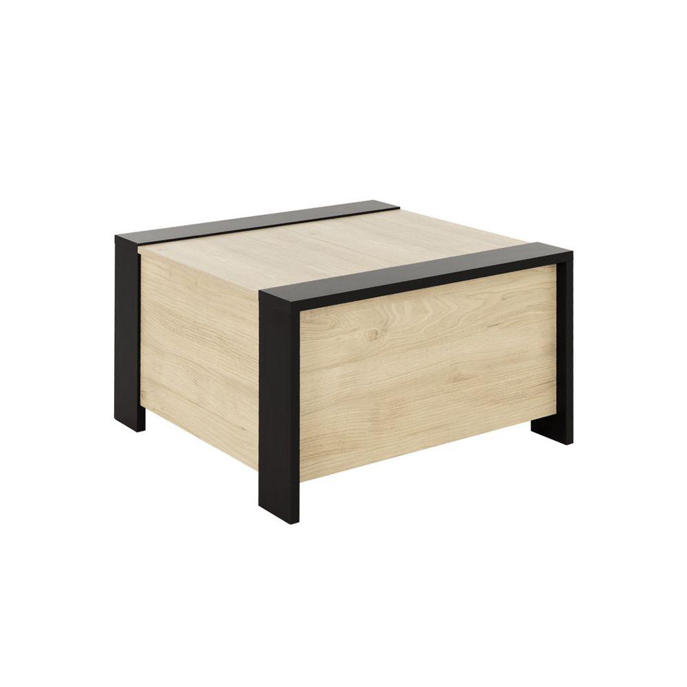 Tousmesmeubles Table basse carrée coffre Noir/Bois - LIVERSTIA