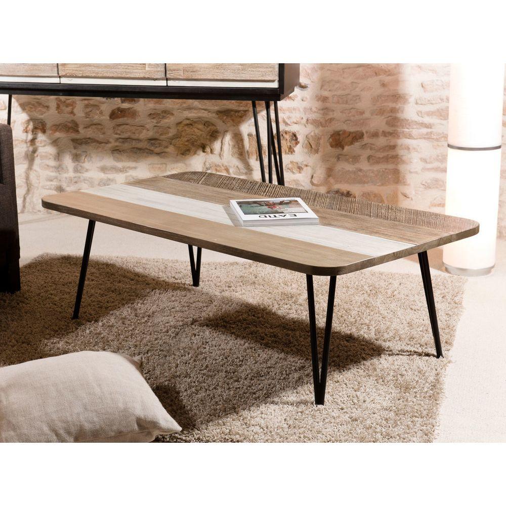 MACABANE Table basse bois et métal 120 x 70 cm