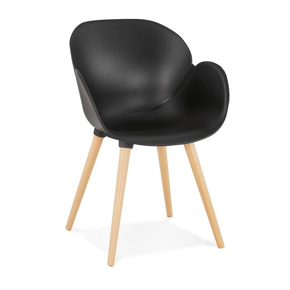 Alterego Chaise design scandinave 'PICATA' noire avec pieds en bois