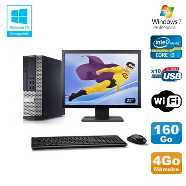 "Dell - Lot PC DELL 790 SFF Intel Core i3-2120 3.3Ghz 4Go 160Go WIFI W7 Pro + Ecran 22"""" - PC Fixe Pc tour"