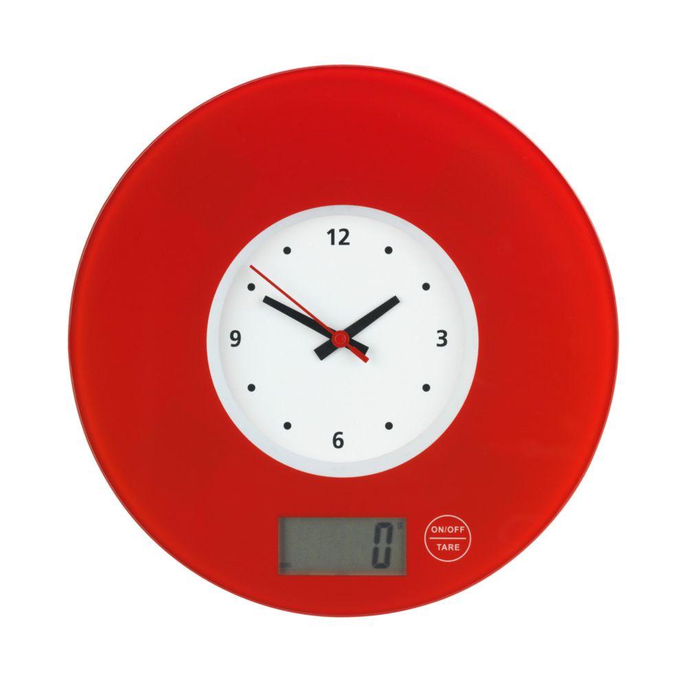 Wenko Balance de cuisine Time avec horloge Rouge
