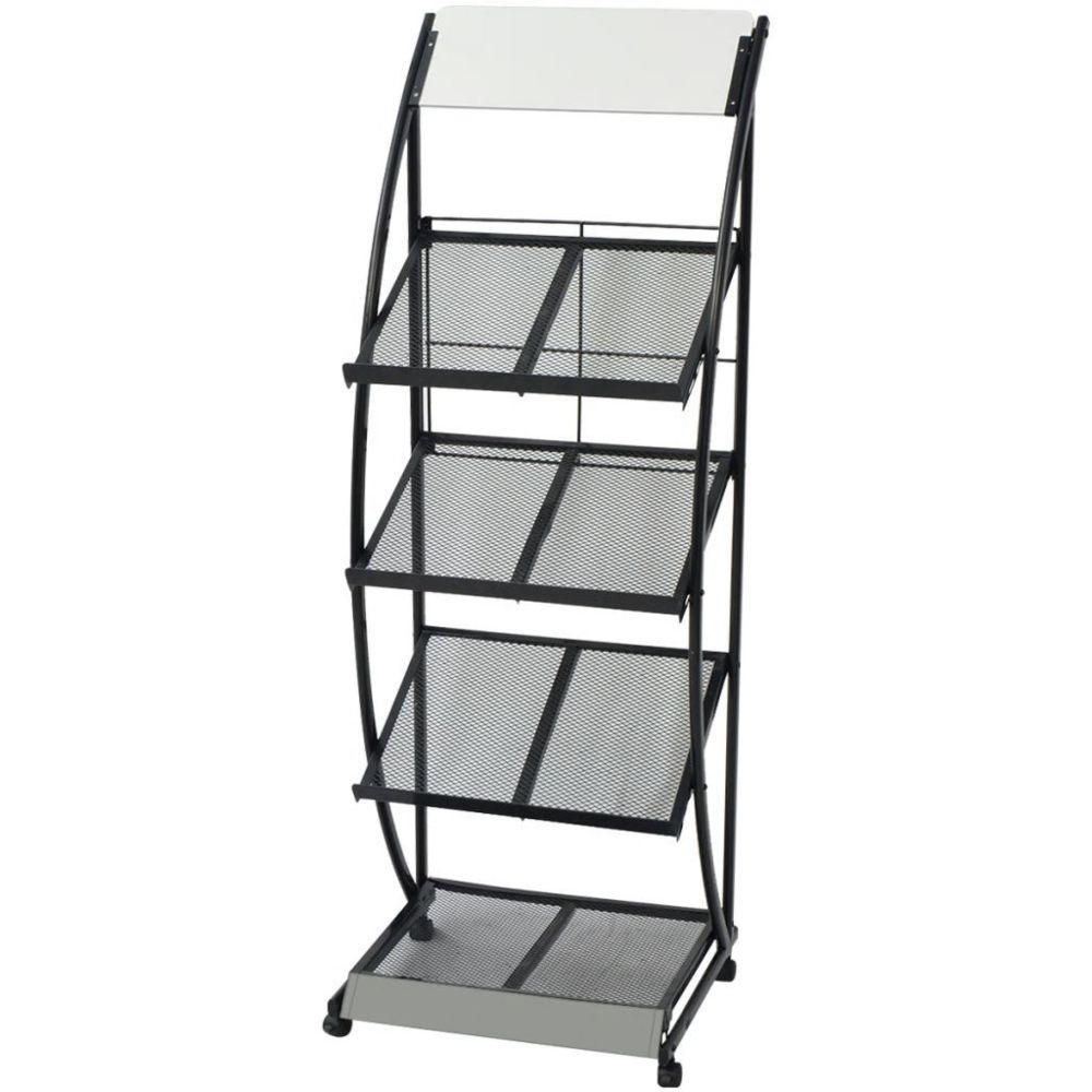Vidaxl vidaXL Porte-revue 47 x 40 x 134 cm Noir et blanc A4
