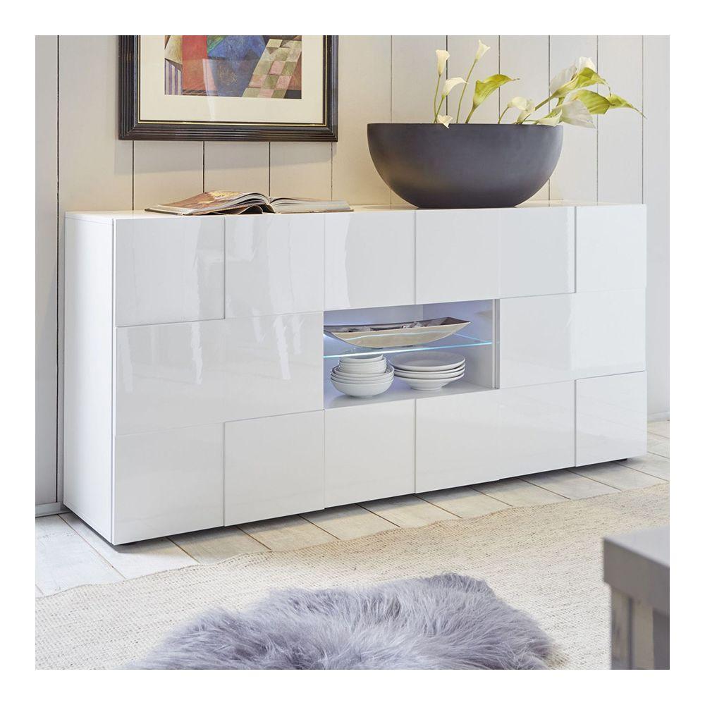 Sofamobili Buffet blanc laqué brillant design ARTIC