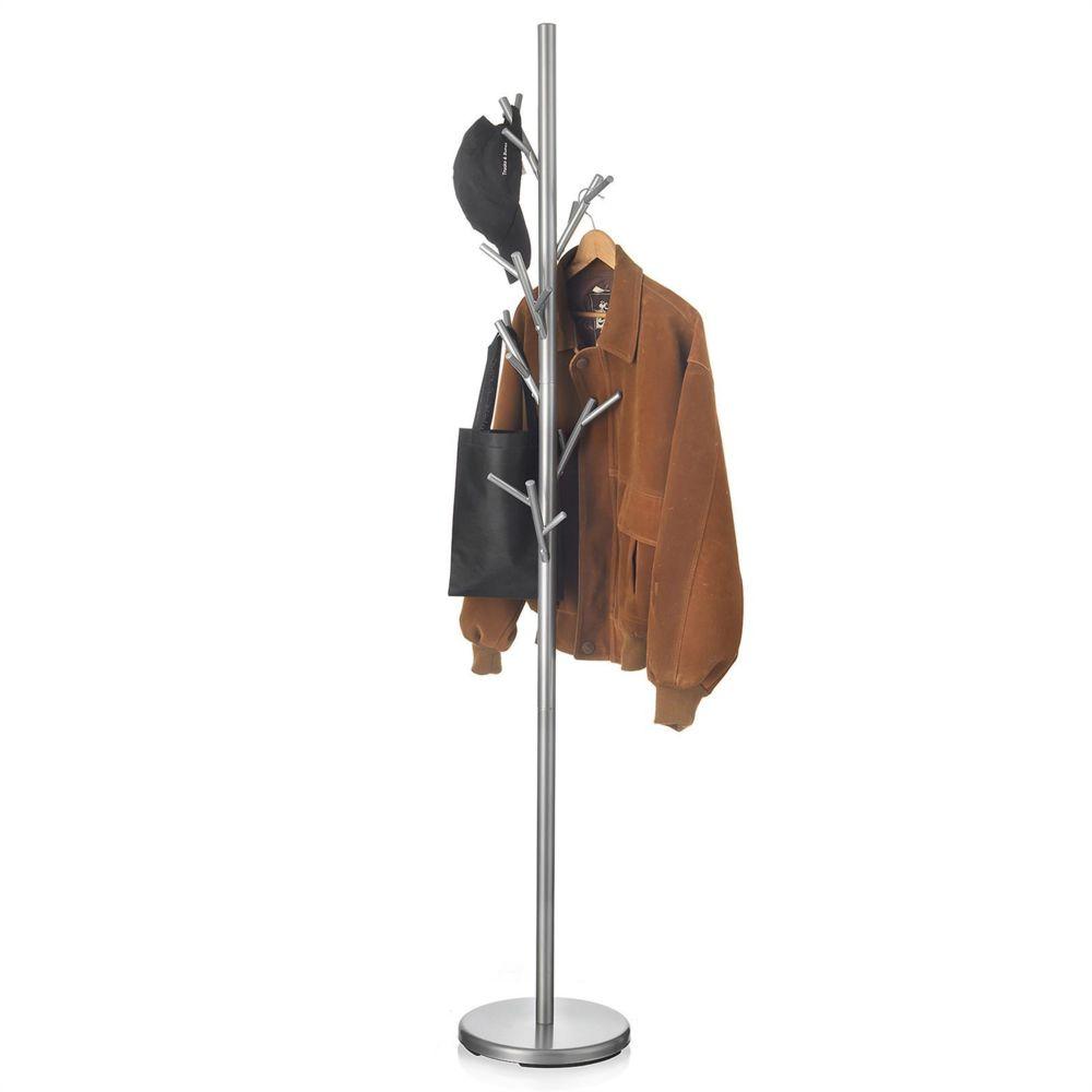 Idimex Porte-manteaux ZENO portant à vêtements sur pied en forme d'arbre avec 6 crochets sur différentes hauteurs, en métal laq