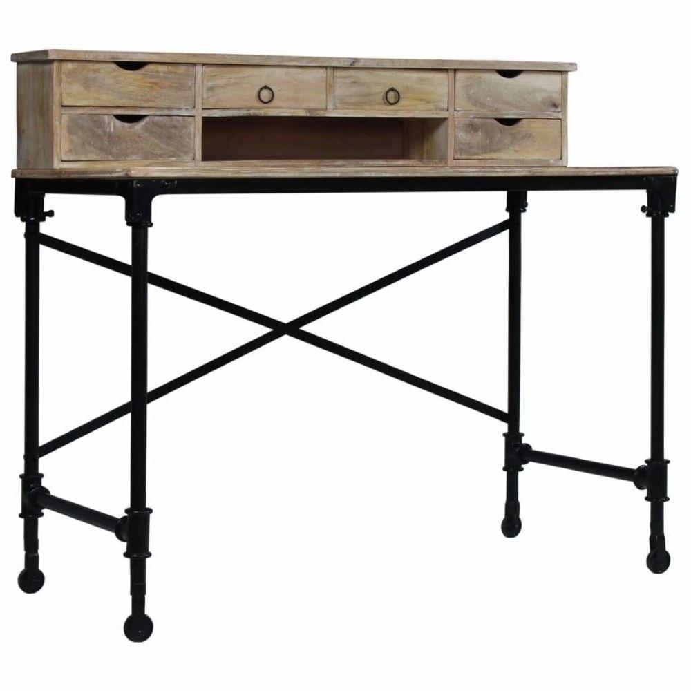 Helloshop26 Bureau table meuble travail informatique bois de manguier massif et acier 110 cm 0502126