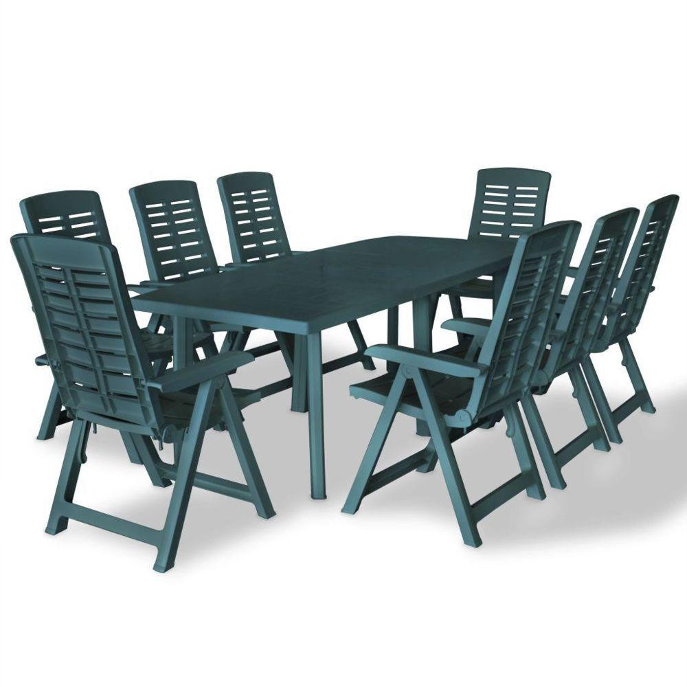 Vidaxl vidaXL Mobilier à dîner d'extérieur 9 pcs Plastique Vert