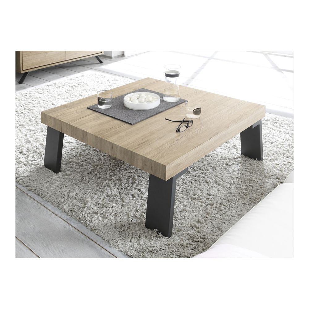 Sofamobili Table basse bois métal carrée MALLORCA