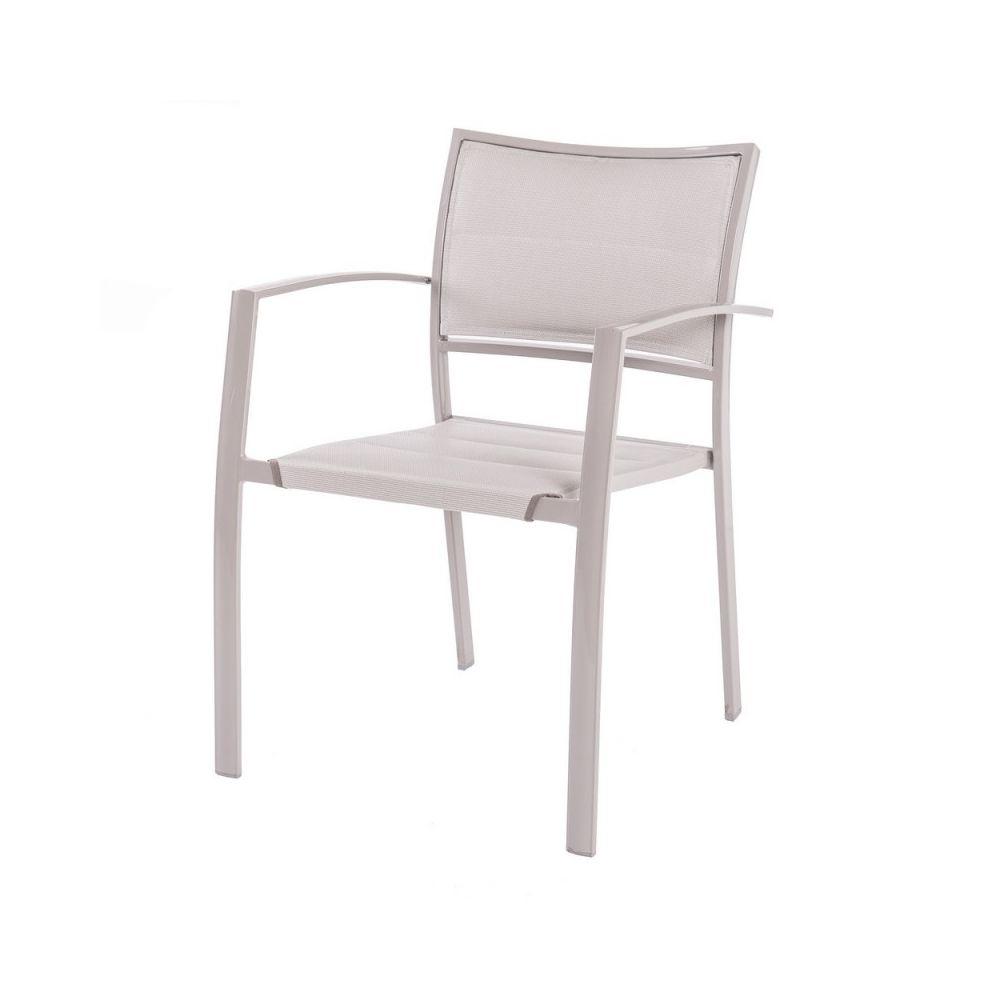 Ma Maison Mes Tendances Lot de 4 chaises en acier gris et matelassage 1cm TOLEDO - L 55.5 x l 57 x H 82