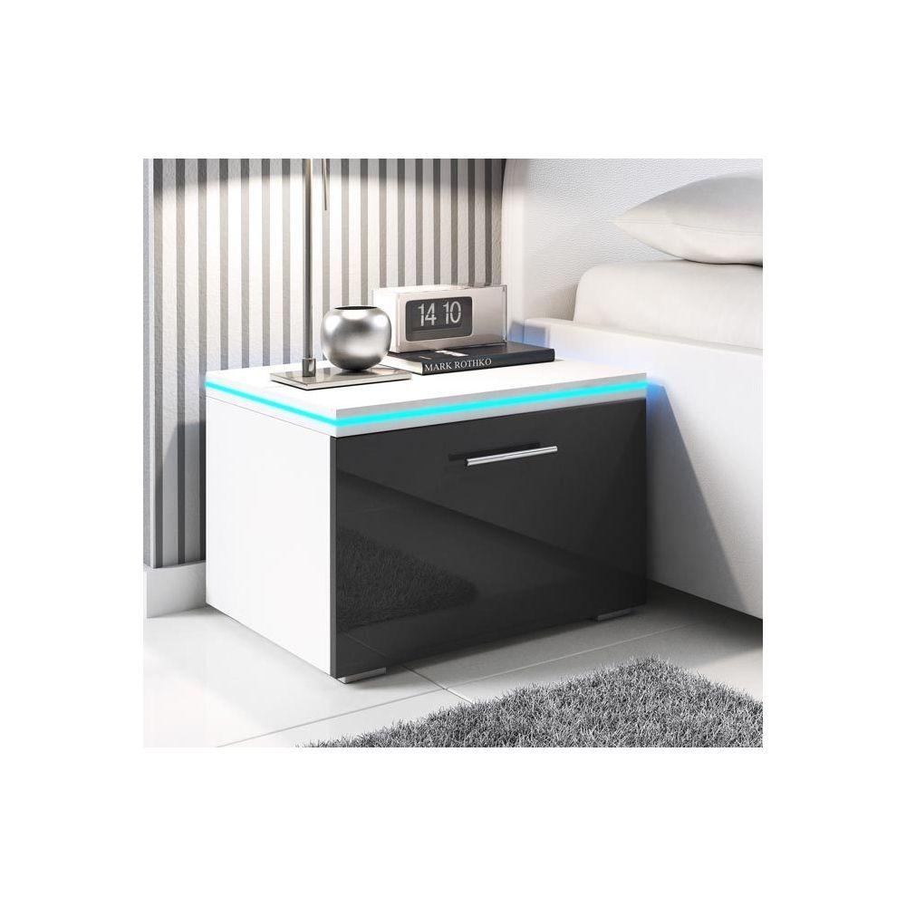 Design Ameublement Table de chevet Victoria noir et blanc avec LED RGB