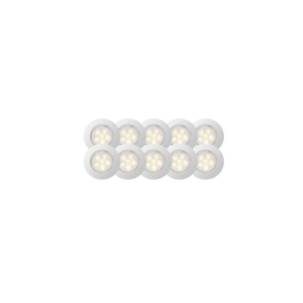 Brilliant Kit de 10 spots encastres IP44 LED intégrée ACIER INOX BLANC CHAUD - BRILLIANT - G03094_75