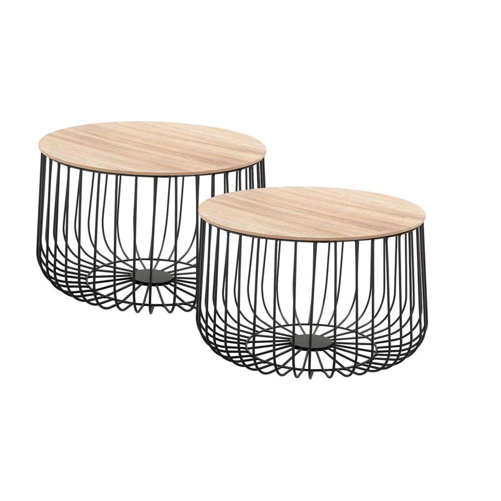 Idimex Lot de 2 tables d'appoint PADOVA paniers en métal tables à café tables basses rondes bouts de canapé vintage décor bois