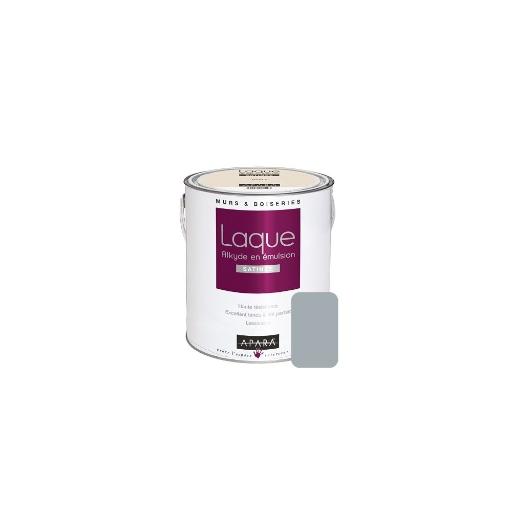 Apara Peinture laque satinée pour murs et boiseries-2.5 litres-Cendre