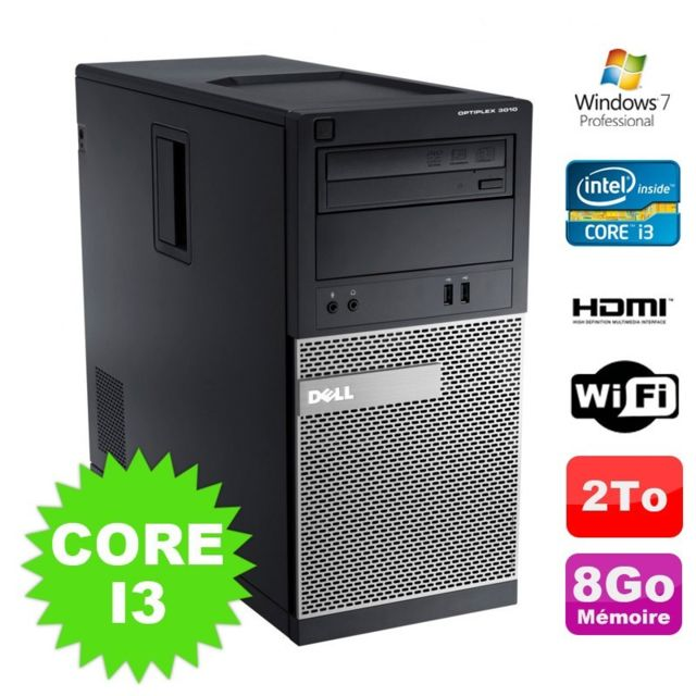 PC Fixe Dell PC Tour DELL Optiplex 3010 MT Intel I3-2120 Graveur 8Go 2000Go HDMI Wifi W7