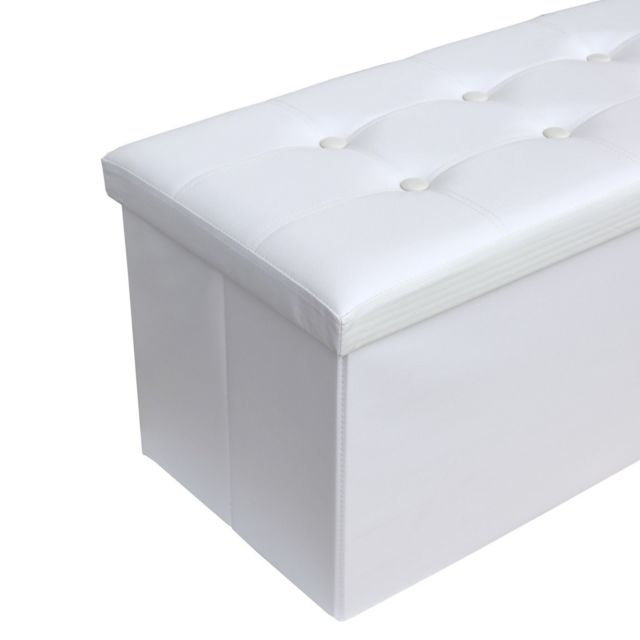 Mobili Rebecca Pouf Coffre de rangement Banc Rectangle Blanc Stokage 38x76x38