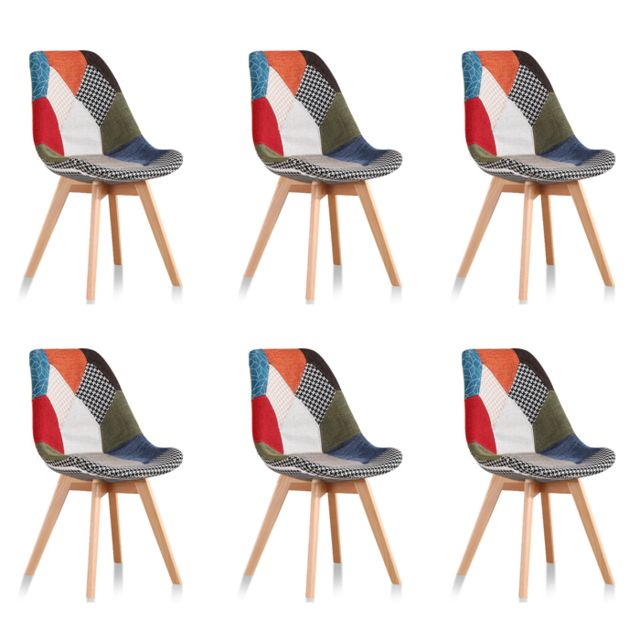 Oneboutic - Lot de 6 chaises scandinaves patchwork - Prague - Chaises
