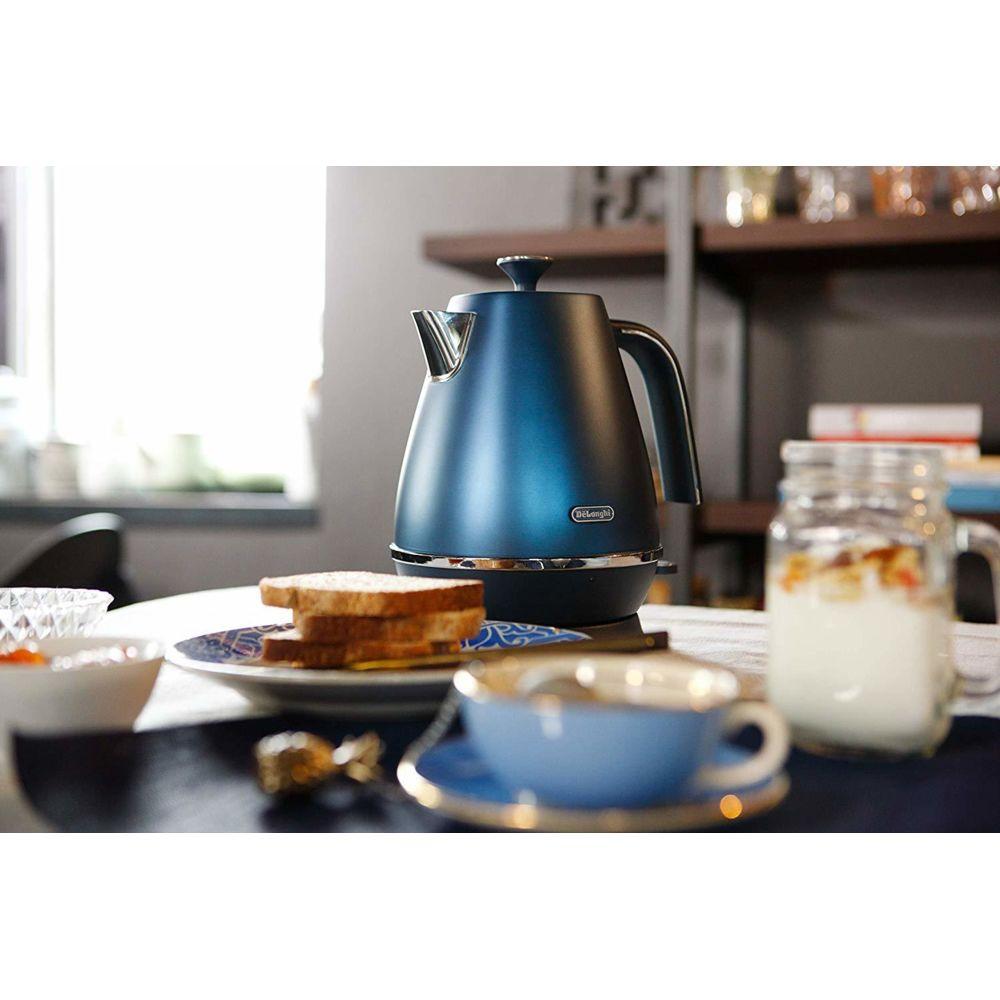 Delonghi bouilloire électrique de 1,7L sans fil 2000W bleu