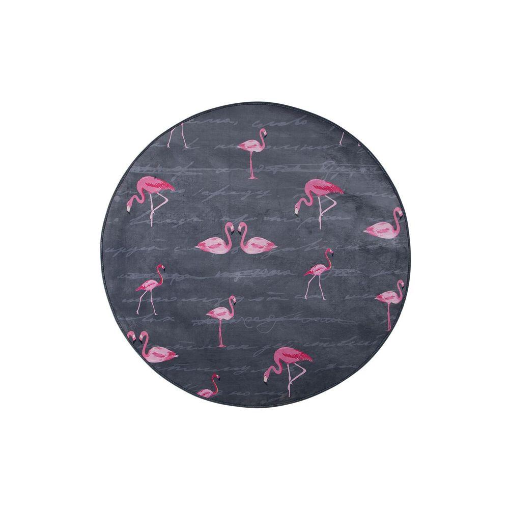 Beliani Beliani Tapis gris rond avec flamant rose KERTE - noir