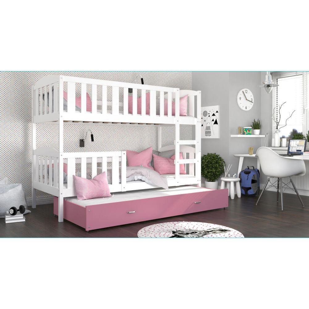 Kids Literie Lit superpose 3 places Téo 90x190 blanc rose livré avec tiroir,3 sommiers et 3 matelas en mousse de 7cm offerts