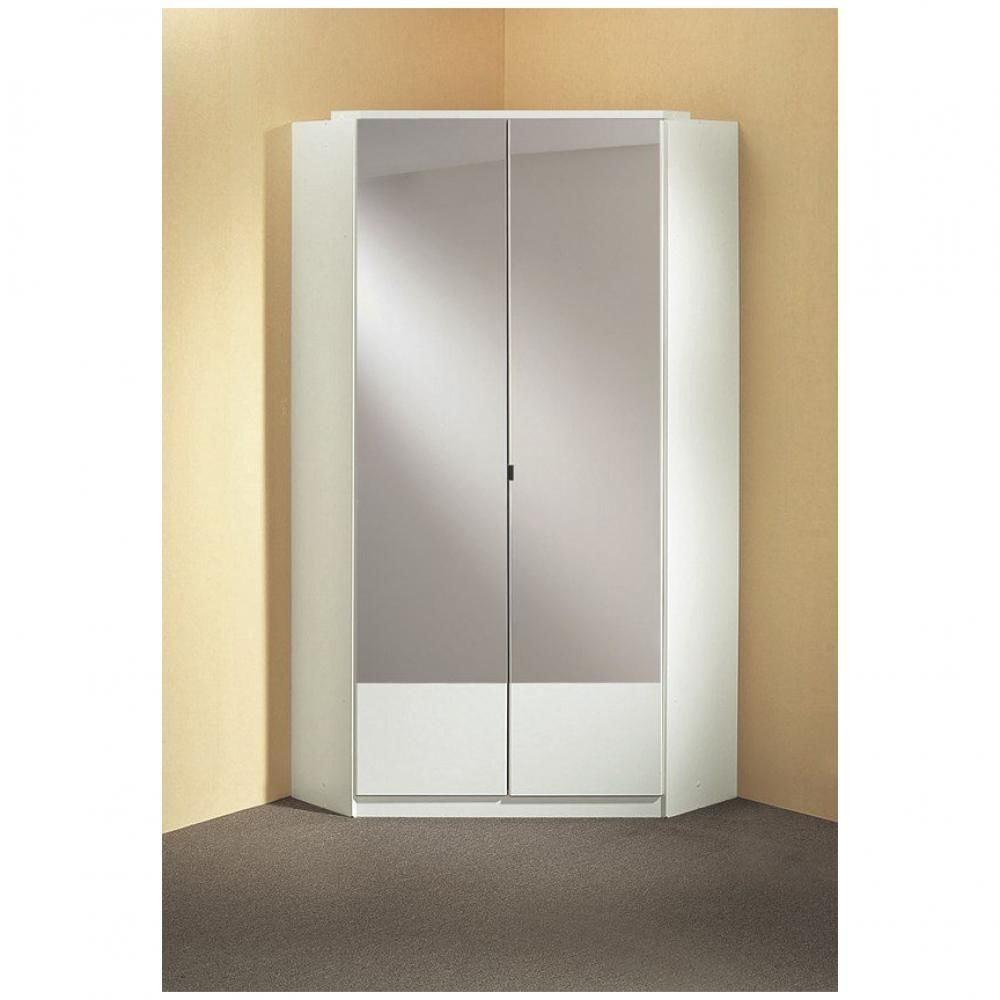 Inside 75 Armoire dressing d'angle DINGLE 2 portes miroirs 95*95 blanche