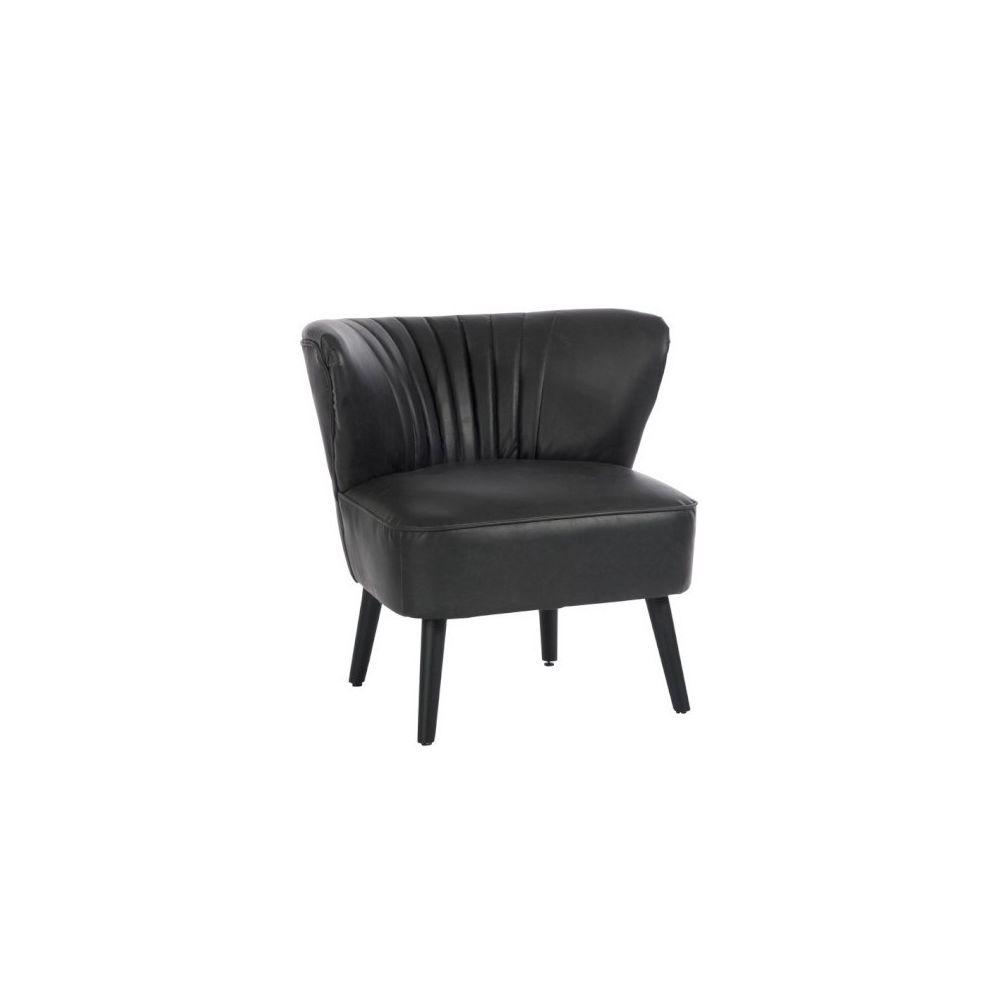 Design And Vintage Fauteuil Crapaud en simili cuir noir