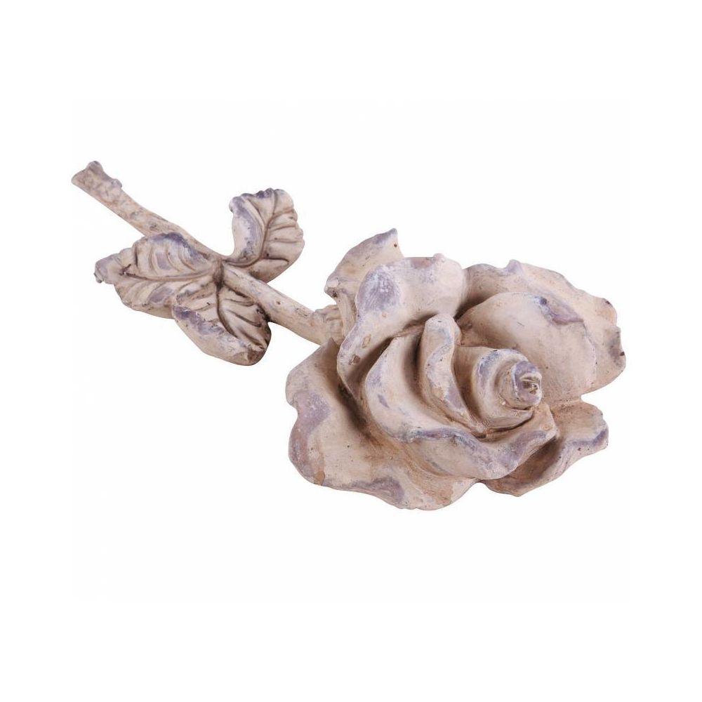 L'Héritier Du Temps Représentation Rose à Poser Fleur Décorative Décoration Florale en Polyrésine Patinée 7,5x17,5x35,5cm