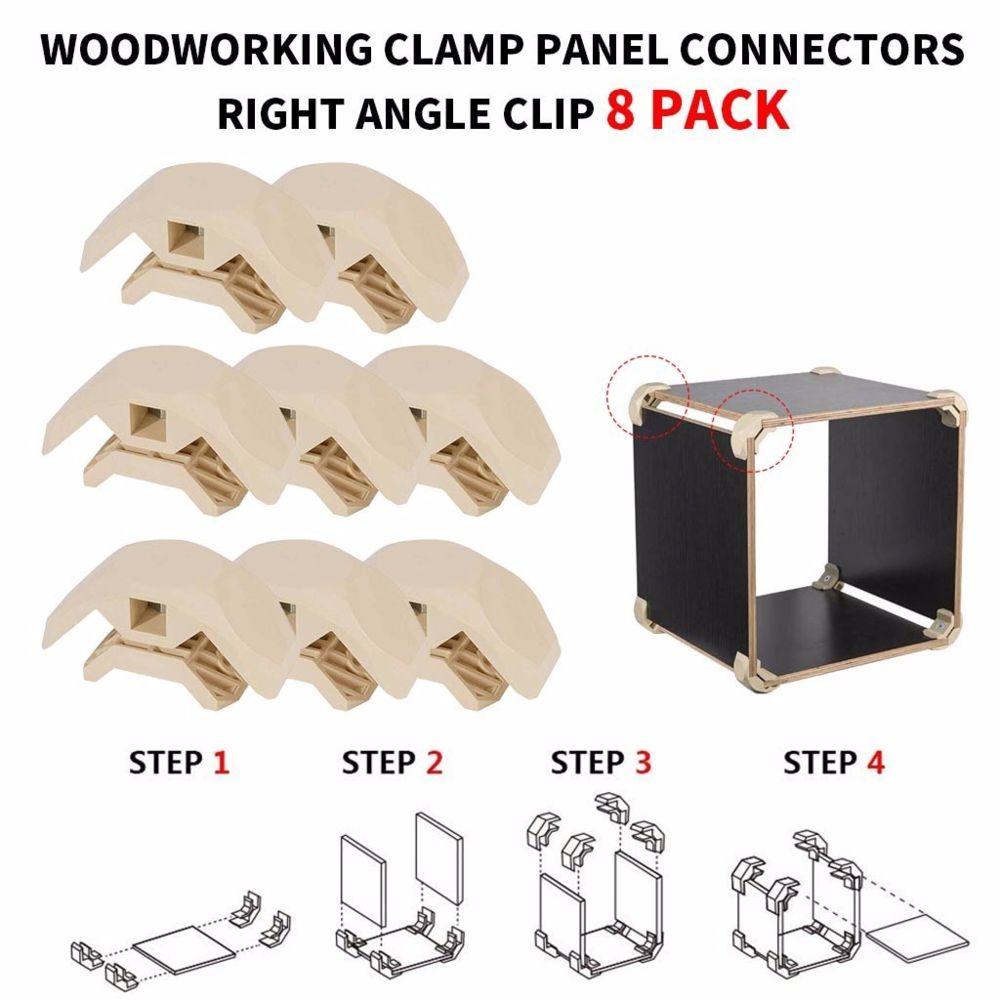 Generic Set Connecteurs panneau de bois Pince à angle droit de clip pour le bricolage Mobilier Placard Table blanc
