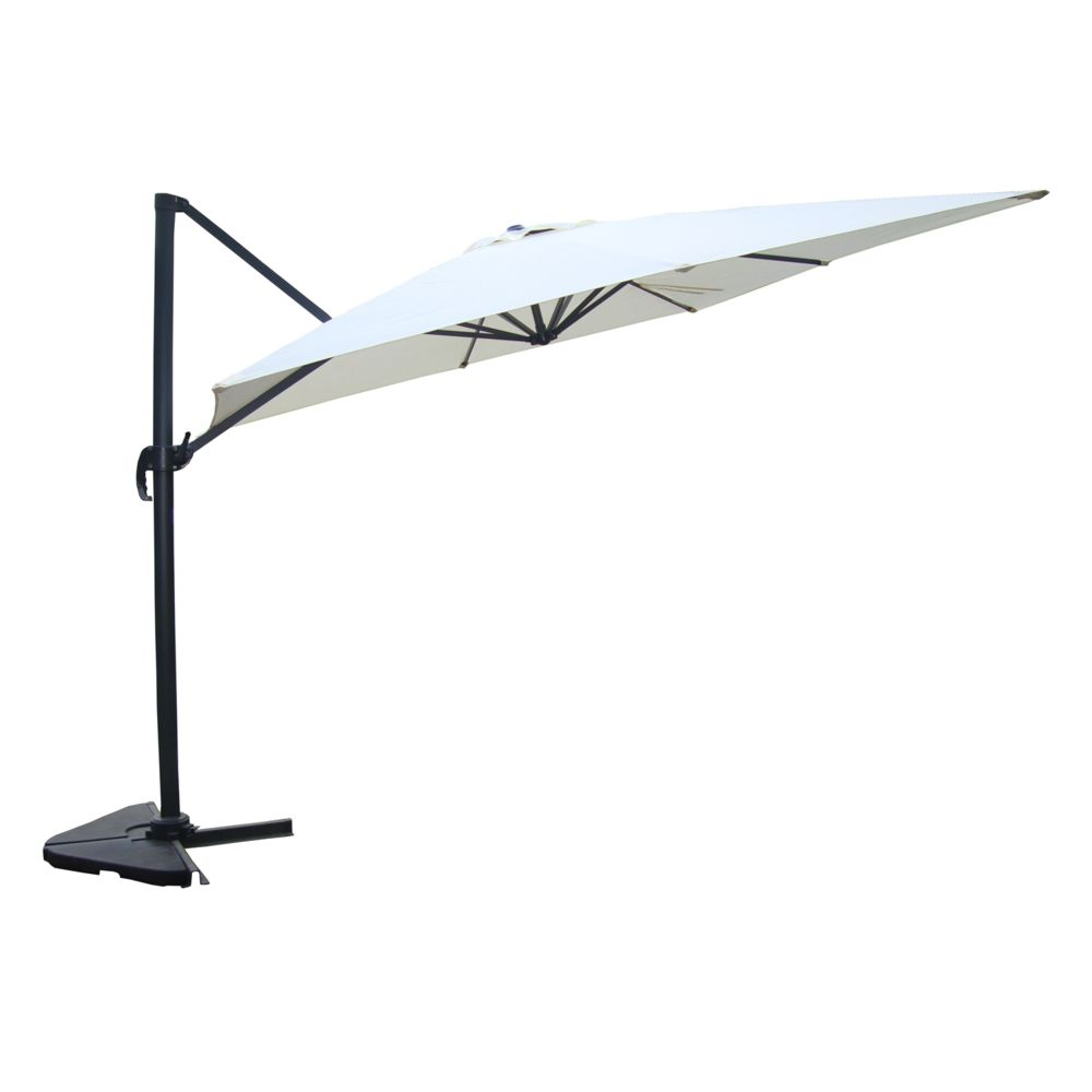 Concept Usine Cesare écru : Parasol déporté, rectangulaire de 3x4m, rotatif à 360°