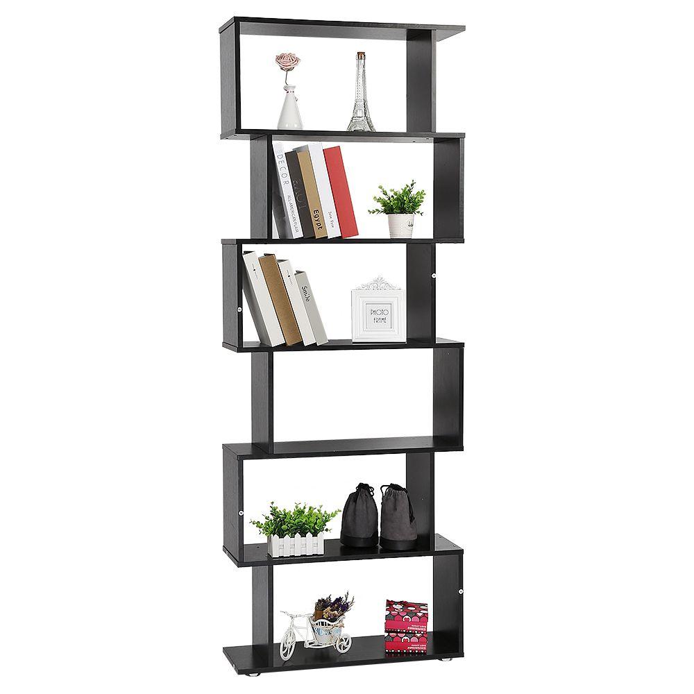 Ltppstore Diviseur de pièce Etagère de bibliothèque Etagère de bureau 6 compartiments 70 * 24 * 190.5cm noir