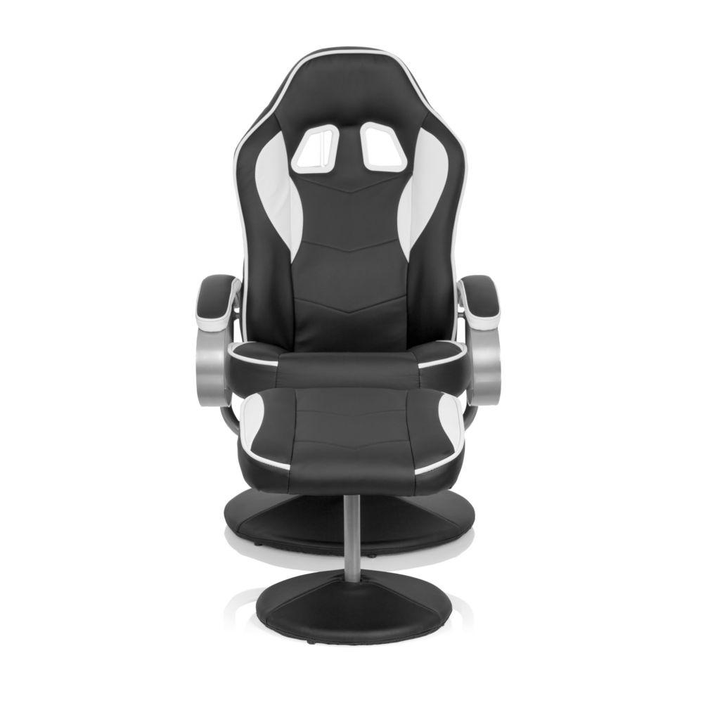 Hjh Office Fauteuil repose-pied / Fauteuil de relaxation GAMER PRO WH 110 simili cuir noir / blanc