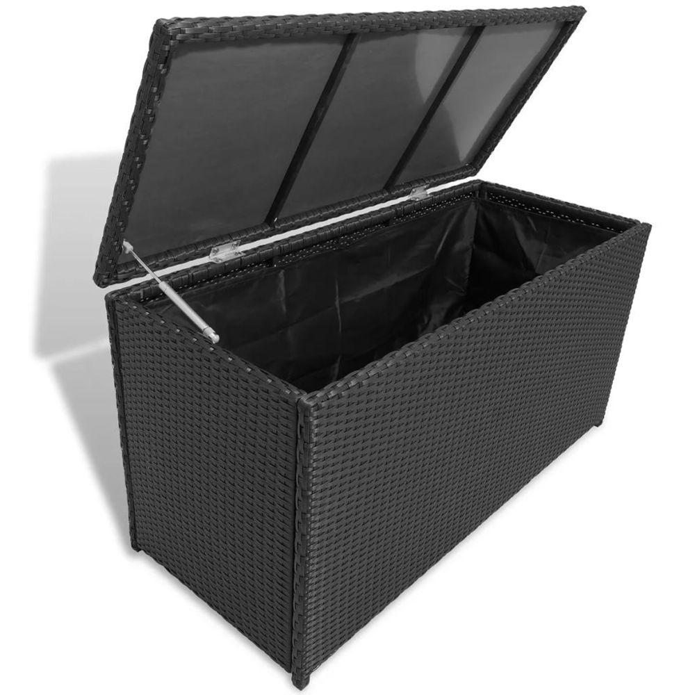 Vidaxl Caisse de stockage de jardin Rotin synthétique Noir | Noir