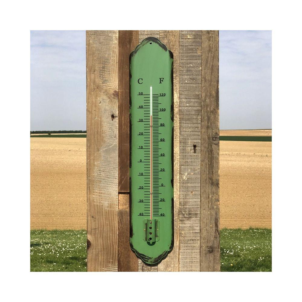 L'Originale Deco Grand Thermomètre Température Murale de Jardin Vert Fer 61 cm x 12 cm