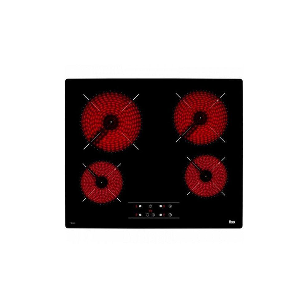 Totalcadeau Plaques vitro céramiques à 4 foyers 6300W 60 cm Noir - Plaque de cuisson