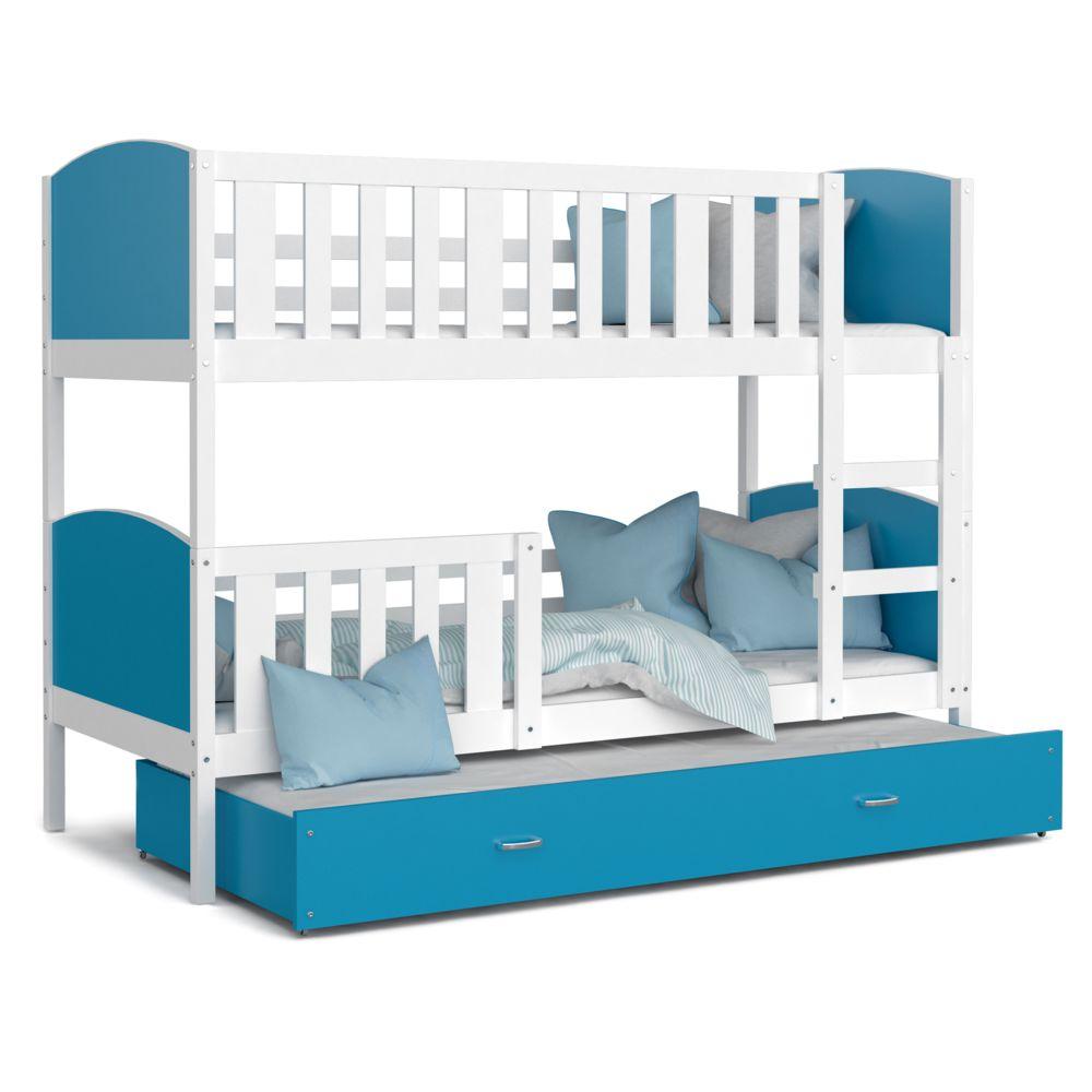 Kids Literie Lit superpose 3 places Tomy 90x190 blanc bleu livré avec tiroir,3 sommiers et 3 matelas en mousse de 7cm offerts