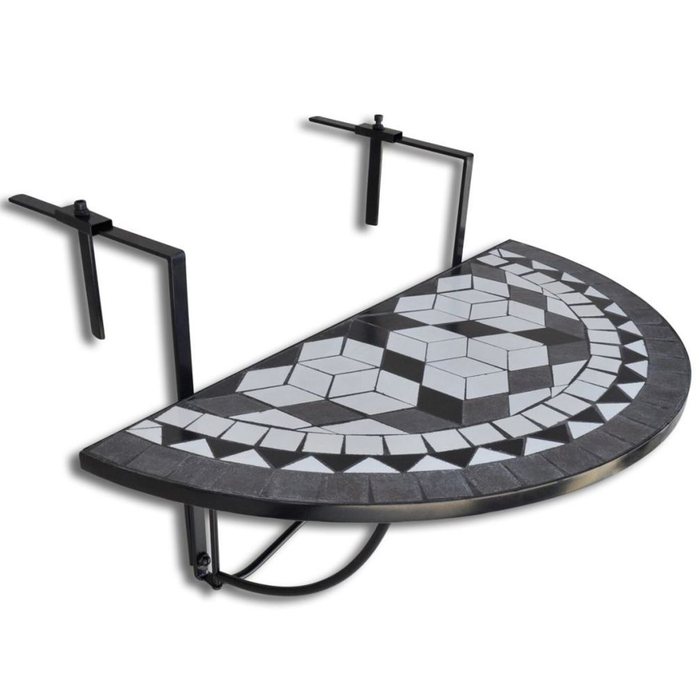 Vidaxl Table de balcon suspendue Demi-circulaire Noir et Blanc | Multicolore