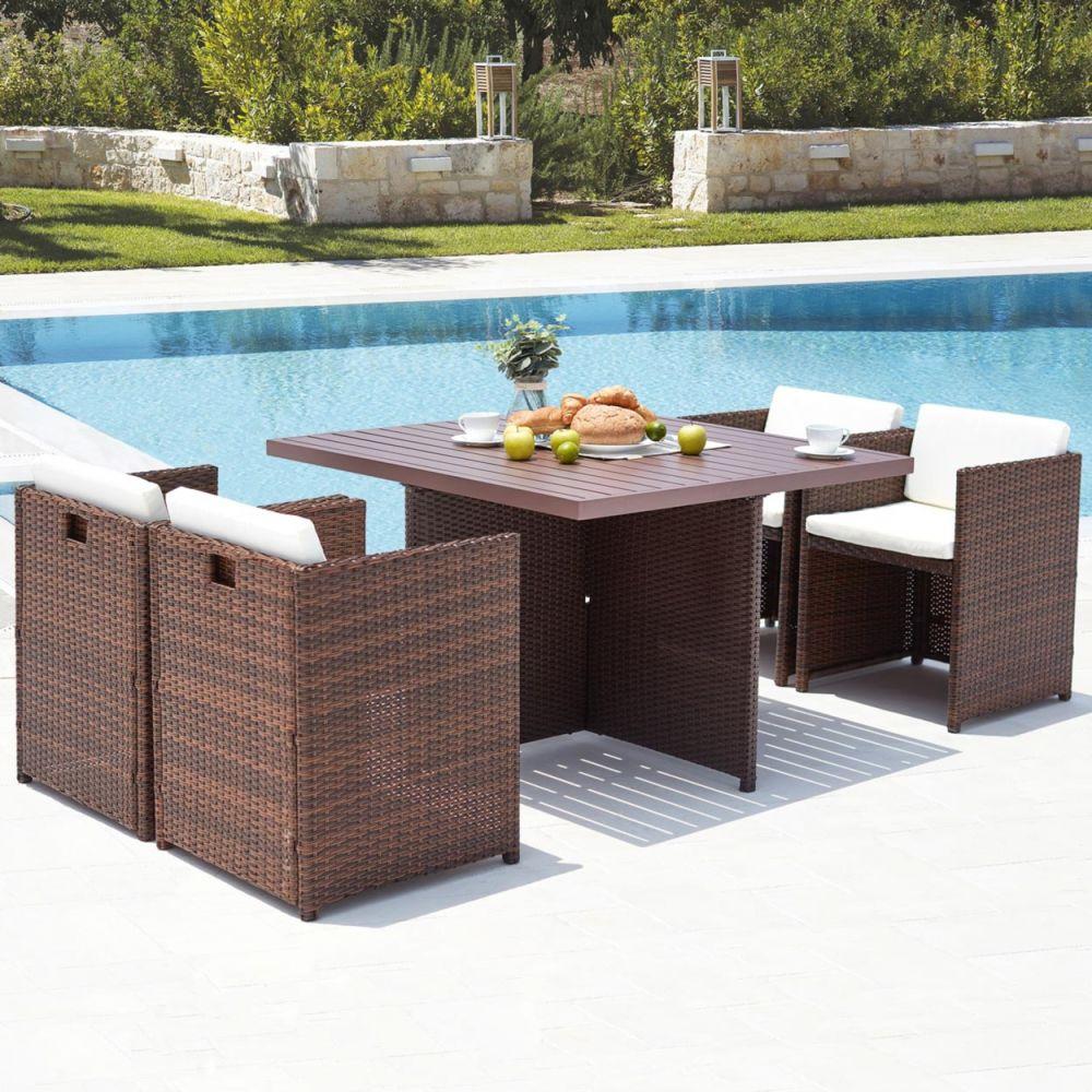 Concept Usine Sunset 4 : salon de jardin encastrable 4 places en résine tressée et aluminium marron/blanc
