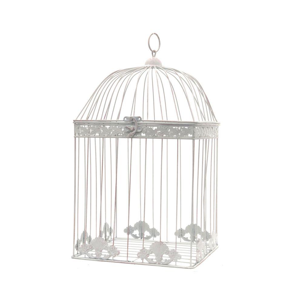 L'Originale Deco Grande Cage Fer de Décoration Carré Blanc 51 cm x 28 cm x 28 cm