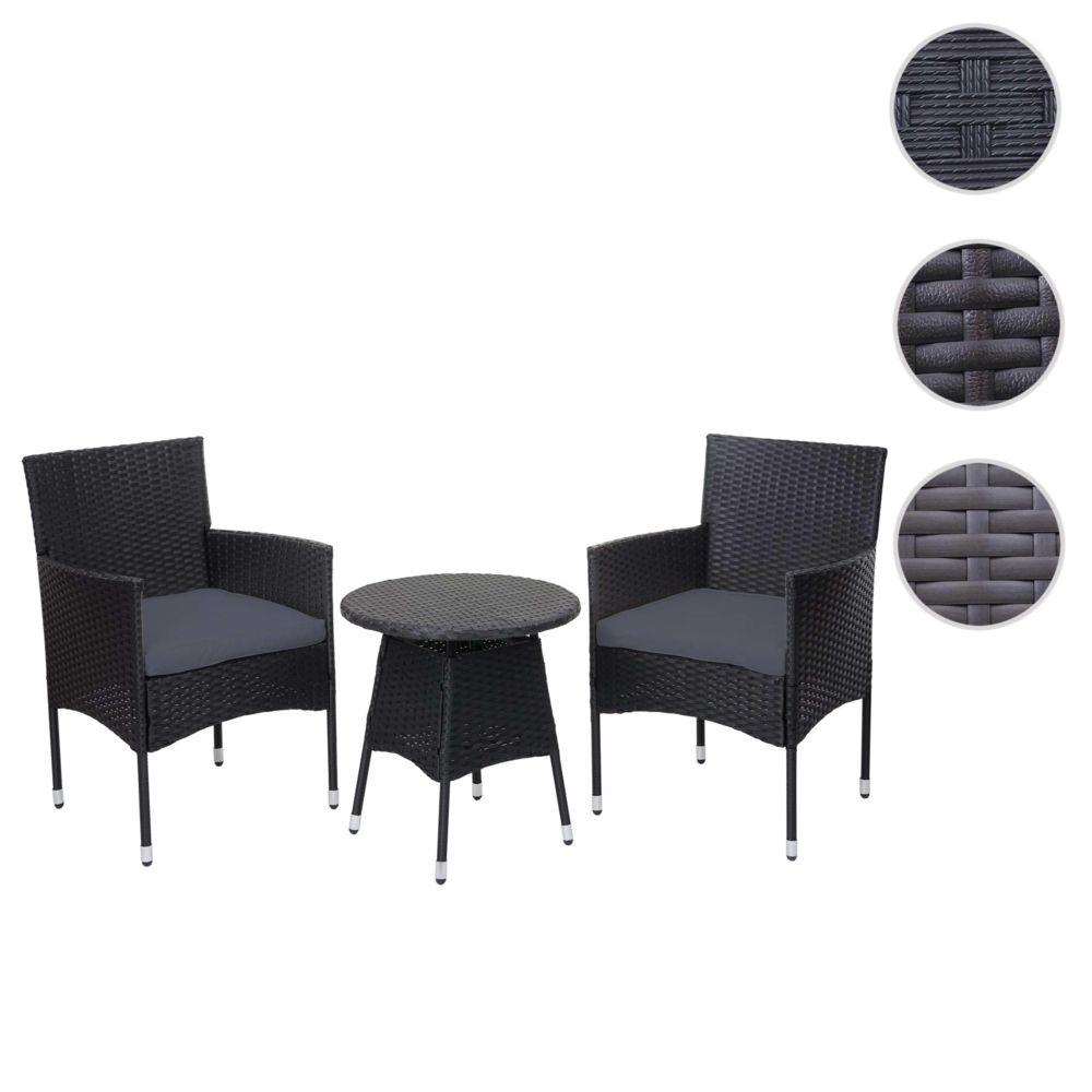 Mendler Ensemble de balcon en polyrotin HWC-G27, garniture de jardin, 2x fauteuil+table ~ anthracite, coussin gris