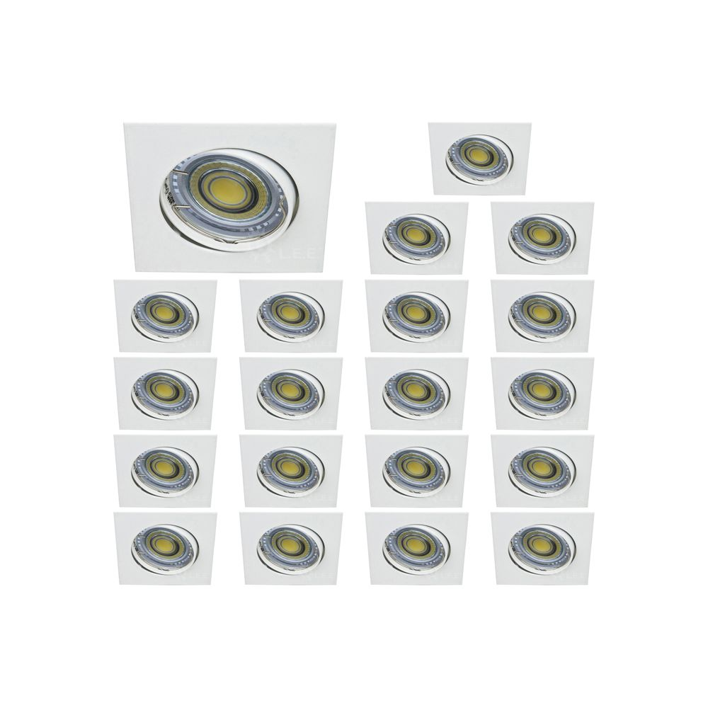 Eurobryte LOT DE 20 SPOT LED CARRE BLANC 230V 38° BLANC NEUTRE