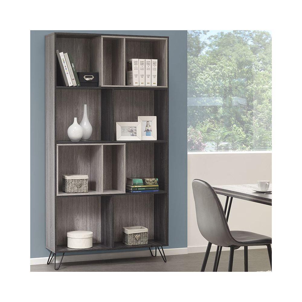 Nouvomeuble Bibliothèque moderne couleur bois gris SANTORI