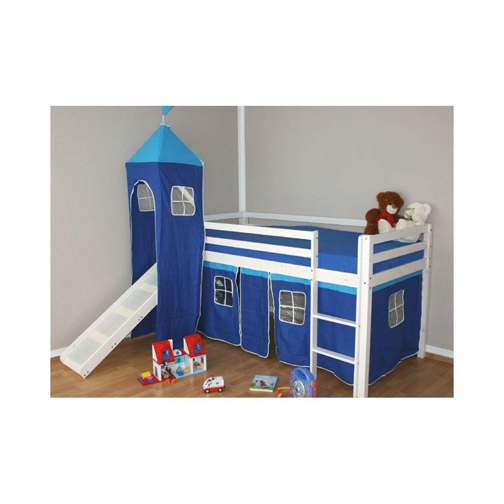 Decoshop26 Lit mezzanine 90x200cm avec échelle toboggan en bois laqué blanc et toile bleu incluse LIT06009