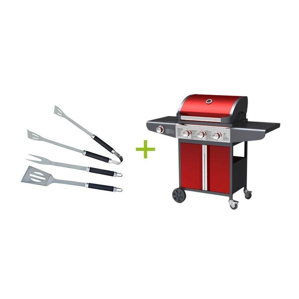 Kocoon Paris Neves - Barbecue à gaz 3 bruleurs avec ustensiles inclus