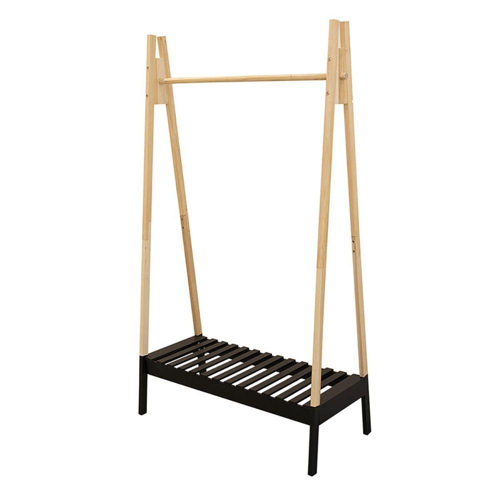 Altobuy Veran - Porte-Vêtements Design Noir et Bois